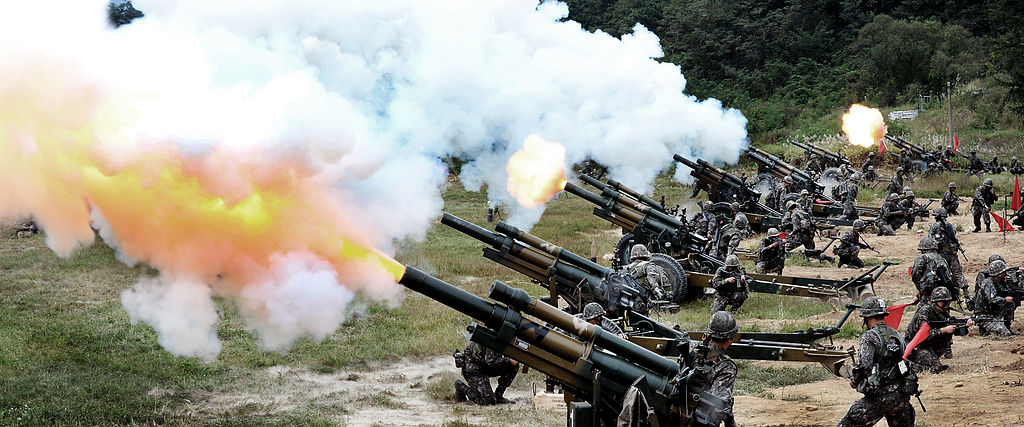 South Korean forces firing M101 105-millimeter howitzers.