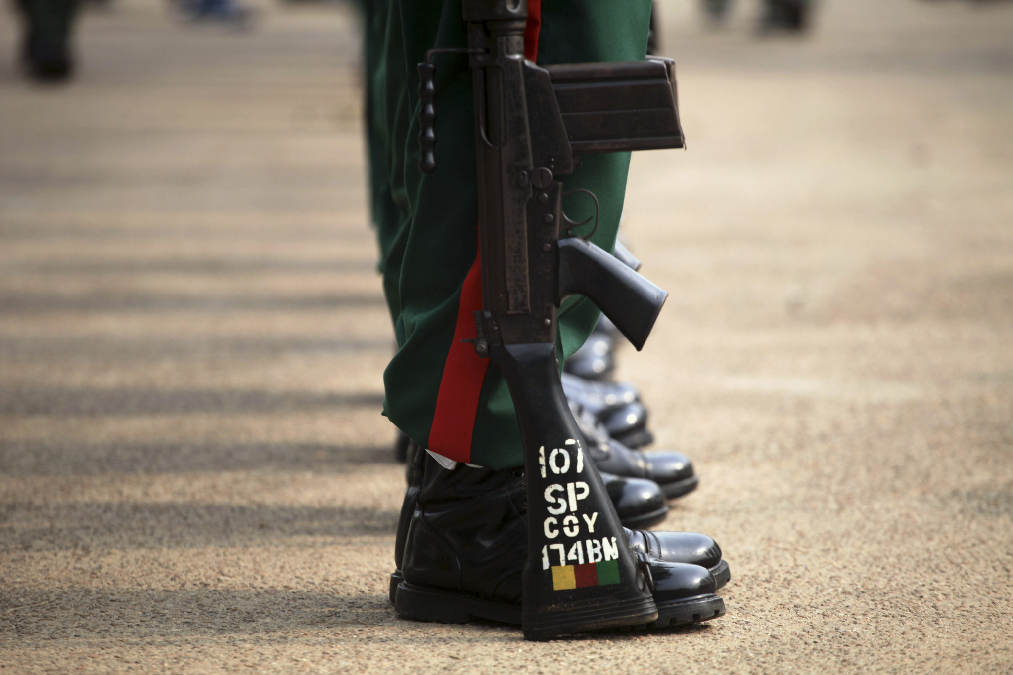 An army officer stands in a parade during a ceremony marking Nigeria's Armed Forces Remembrance Day in Lagos January 15, 2013. REUTERS/Akintunde Akinleye
