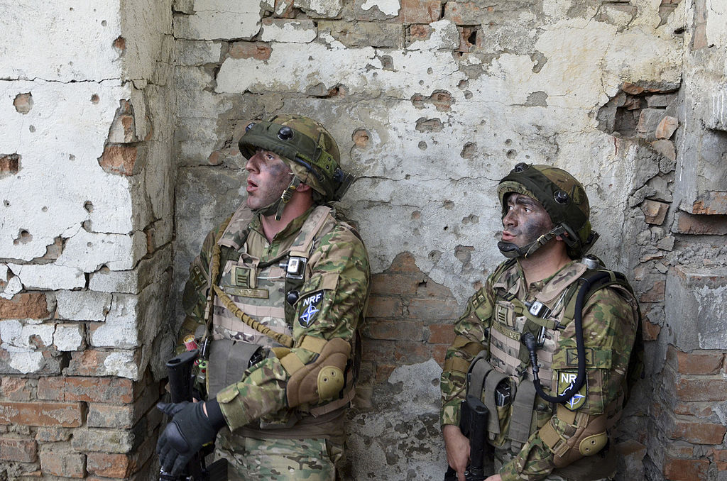Georgian soldiers during an urban warfare training exercise as part of Exercise Noble Partner. Wikimedia Commons/U.S. Army Europe