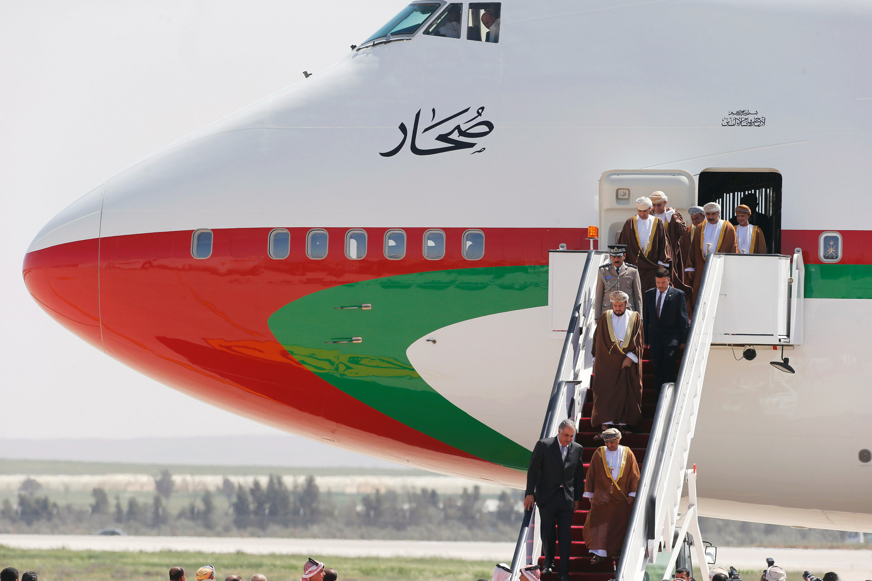 Asaad bin Tariq Al Said, Oman's Deputy Prime Minister for International Relations and Affairs, arrives at the Queen Alia International Airport in Amman, Jordan
