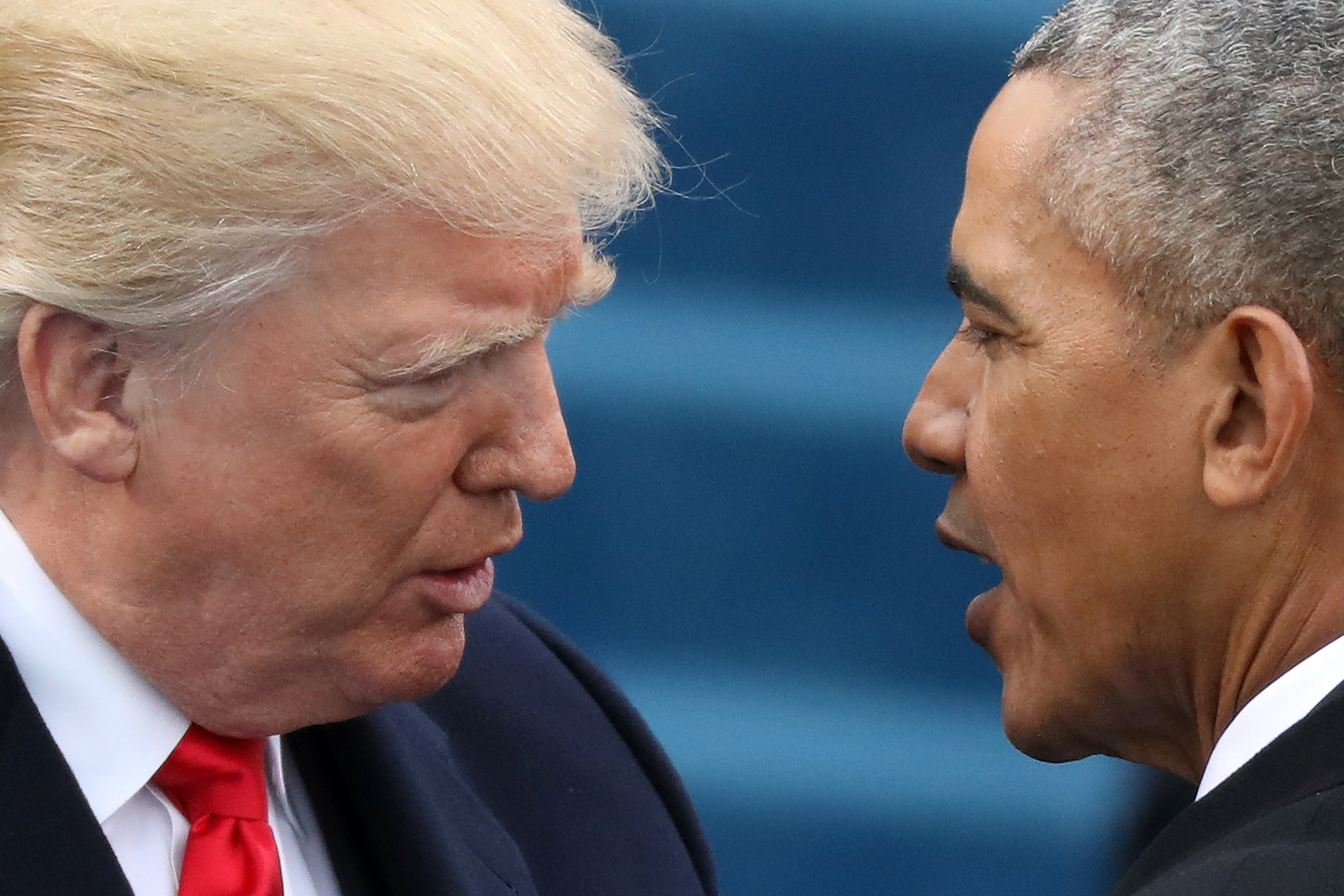 President Barack Obama greets President-elect Donald Trump at inauguration ceremonies swearing in Trump as president on the west front of the U.S. Capitol in Washington, DC January 20, 2017. REUTERS/Carlos Barria