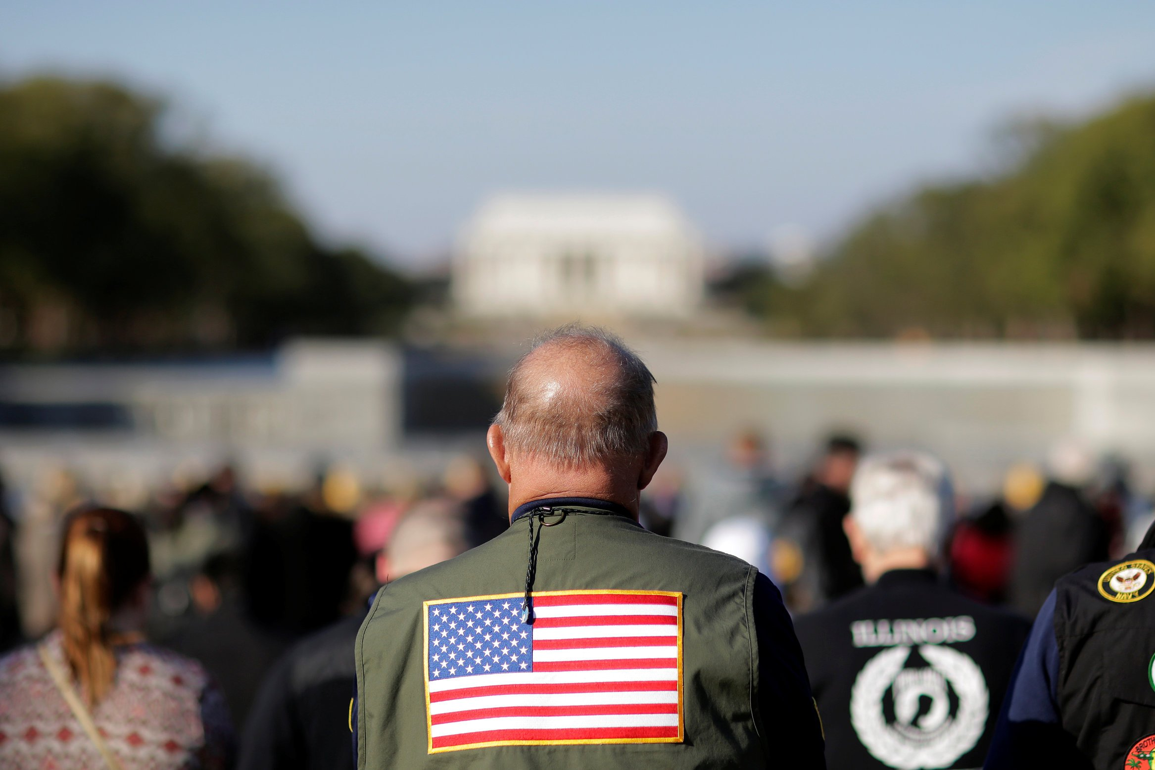 Veterans attend Memorial day services at the World War II Memorial in Washington, U.S., November 11, 2016. REUTERS/Joshua Roberts