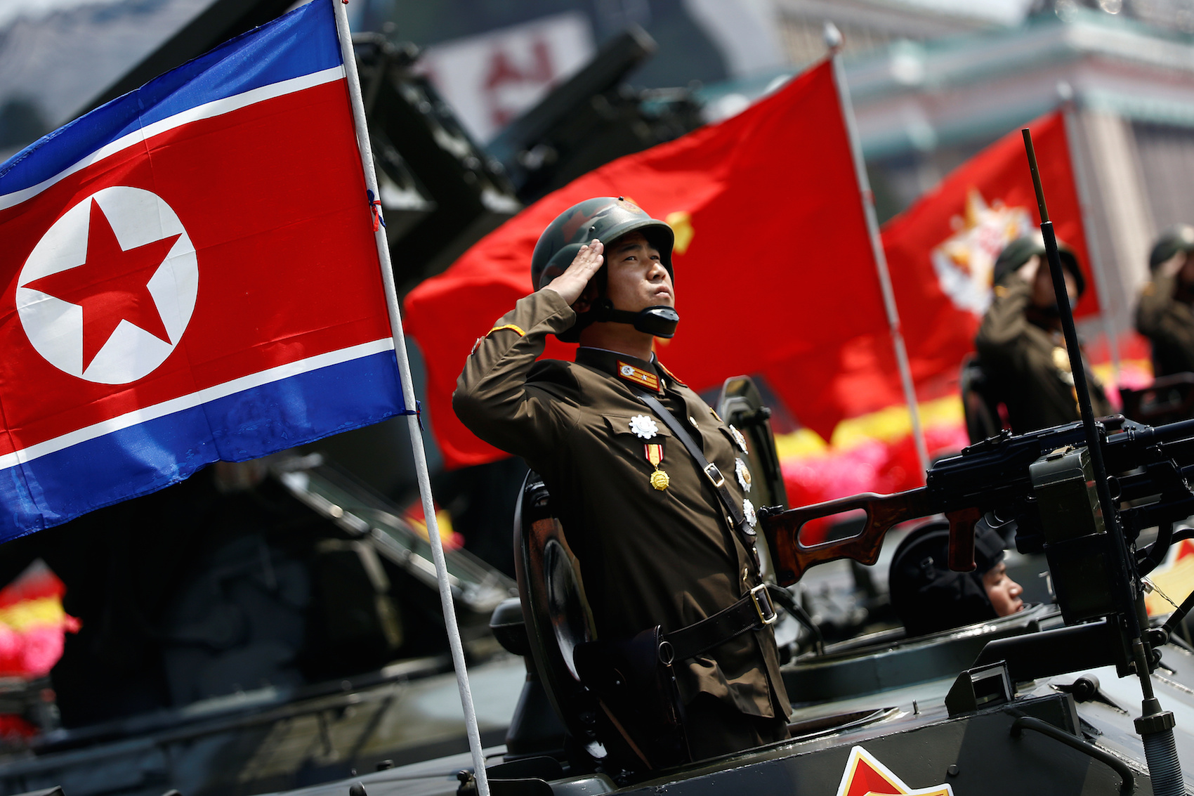 A soldier salutes during a military parade in Pyongyang April 15, 2017. Reuters/Damir Sagolj
