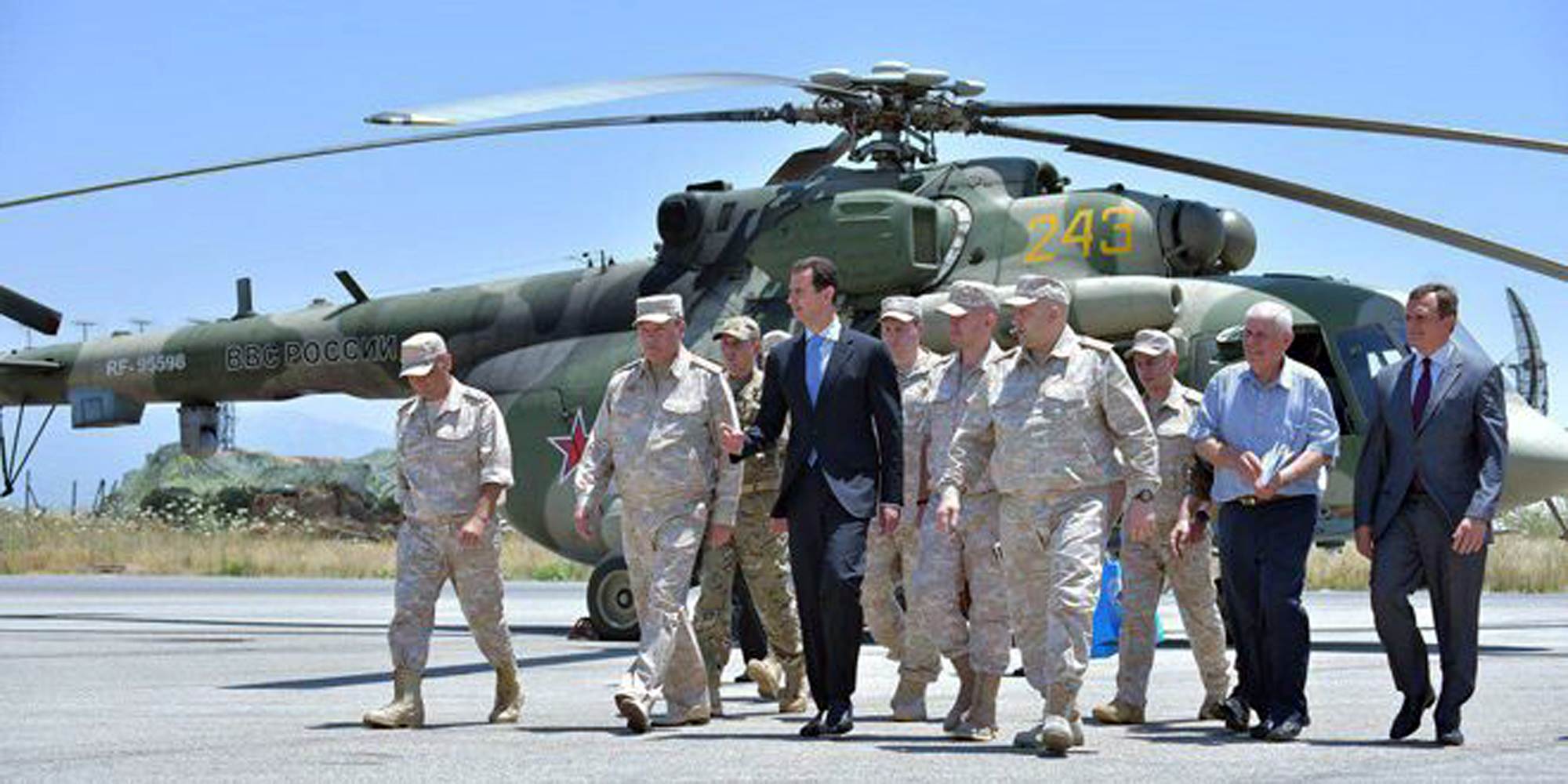Syria's President Bashar al-Assad visits a Russian air base at Hmeymim, in western Syria in this handout picture posted on SANA on June 27, 2017, Syria.