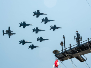 Aircraft assigned to Carrier Air Wing (CVW) 9 fly in formation during an air power demonstration over USS John C. Stennis (CVN 74) on April 25, 2016.