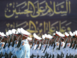 Members of Iranian armed forces march during a parade in Tehran