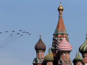 Russian military planes fly above Saint Basil's Cathedral during the Victory Day parade in Moscow's Red Square