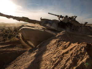 An M1A2 main battle tank assigned to 1st Battalion, 35nd Armored Regiment breaches obstacles during AWA 17.1 at Fort Bliss on October 2016.