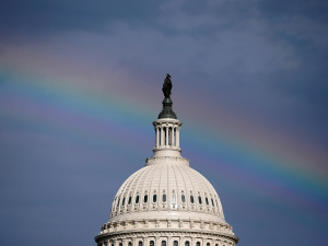 A rainbow shines over the U.S. Capitol in Washington