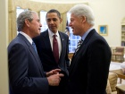 President Barack Obama with former presidents George W. Bush and Bill Clinton. Wikimedia Commons/Public domain