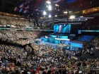 Image: The convention floor at the Democratic National Convention during Bill Clinton's speech. Photo by JefParker, public domain.