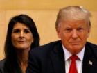 U.S. Ambassador to the UN Nikki Haley and U.S. President Donald Trump participate in a session on reforming the United Nations at UN Headquarters in New York