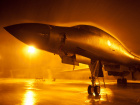 A B-1B Lancer aircraft sits in the aircraft parking area at Ellsworth Air Force Base, S.D.