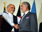 Ashraf Ghani shakes hands with Abdullah Abdullah. Wikimedia Commons/U.S. Department of State