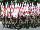 Flags of Georgia in Rustaveli Avenue, Tbilisi, during a military parade. Wikimedia Commons/Public domain
