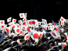 Well-wishers wave Japanese national flags as Japan's Emperor Akihito appears on a balcony of the Imperial Palace during a public appearance for New Year celebrations at the Imperial Palace in Tokyo