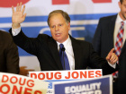 Democratic Alabama U.S. Senate candidate Doug Jones acknowledges supporters at the election night party in Birmingham