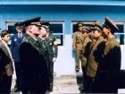 Image: American, South Korean, and North Korean military representatives meet at the Military Demarcation Line, 1997. DOD photo, public domain.
