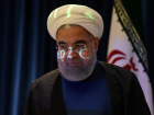 A video projection is seen on the face of Iran's President Hassan Rouhani as he arrives for a news conference during the United Nations General Assembly in New York City, U.S. September 20, 2017. REUTERS/Stephanie Keith/File Photo