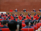 North Korean leader Kim Jong Un attends the Third Plenary Meeting of the Seventh Central Committee of the Workers' Party of Korea (WPK), in this photo released by North Korea's Korean Central News Agency (KCNA) in Pyongyang on April 20, 2018. KCNA/via Reuters