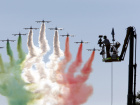 The Italian Freccie Tricolori aerobatics team perform prior the start of the Italian F1 Grand Prix in Monza, northern Italy September 6, 2015. REUTERS/Giampiero Sposito