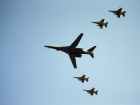 A U.S. Air Force B-1B bomber flies over Osan Air Base in Pyeongtaek, South Korea