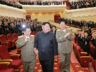 North Korean leader Kim Jong Un reacts during a celebration for nuclear scientists and engineers who contributed to a hydrogen bomb test, in this undated photo released by North Korea's Korean Central News Agency (KCNA) in Pyongyang on September 10, 2017. KCNA via REUTERS