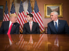 Speaker Paul Ryan meets with Donald Trump and Mike Pence​. Wikimedia Commons/Office of the Speaker of the House​