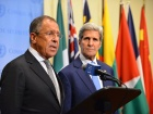 U.S. Secretary of State John Kerry and Russian Foreign Minister Sergey Lavrov address reporters at the United Nations Security Council in New York City on September 30, 2015. State Department photo/ Public Domain​