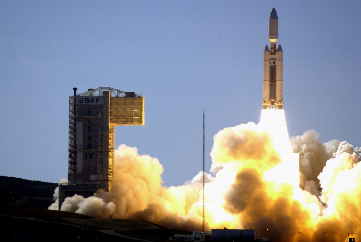A Titan IV B rocket launches from Space Launch Complex - 4 East at Vandenberg Air Force Base, Calif., Oct. 19, 2005. The Titan IV B rocket is carrying a critical national reconnaissance security payload for the National Reconnaissance Office. U.S. Air Force photo by Staff Sgt. Ron Hill