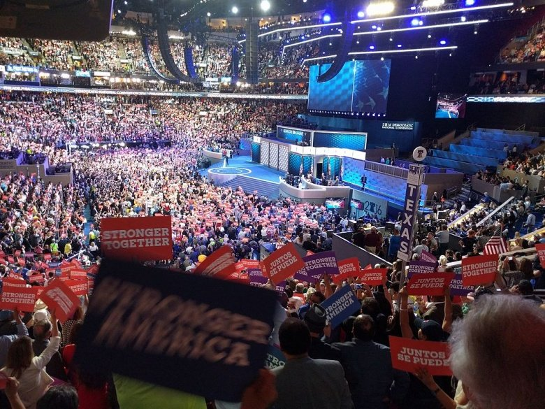 Image: The Democratic National Convention during Tim Kaine's speech. Photo by JefParker, public domain.