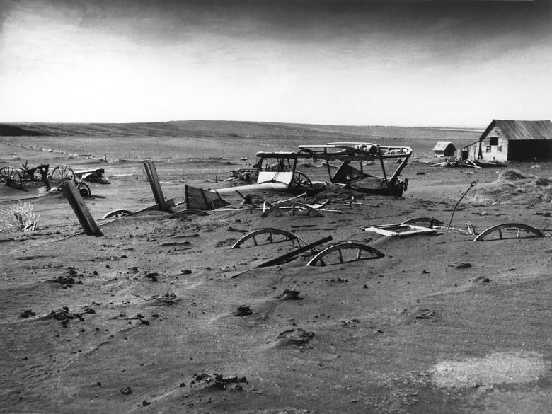"Image: Buried equipment in Dust Bowl South Dakota, 1936. USDA photo by ""Sloan."""