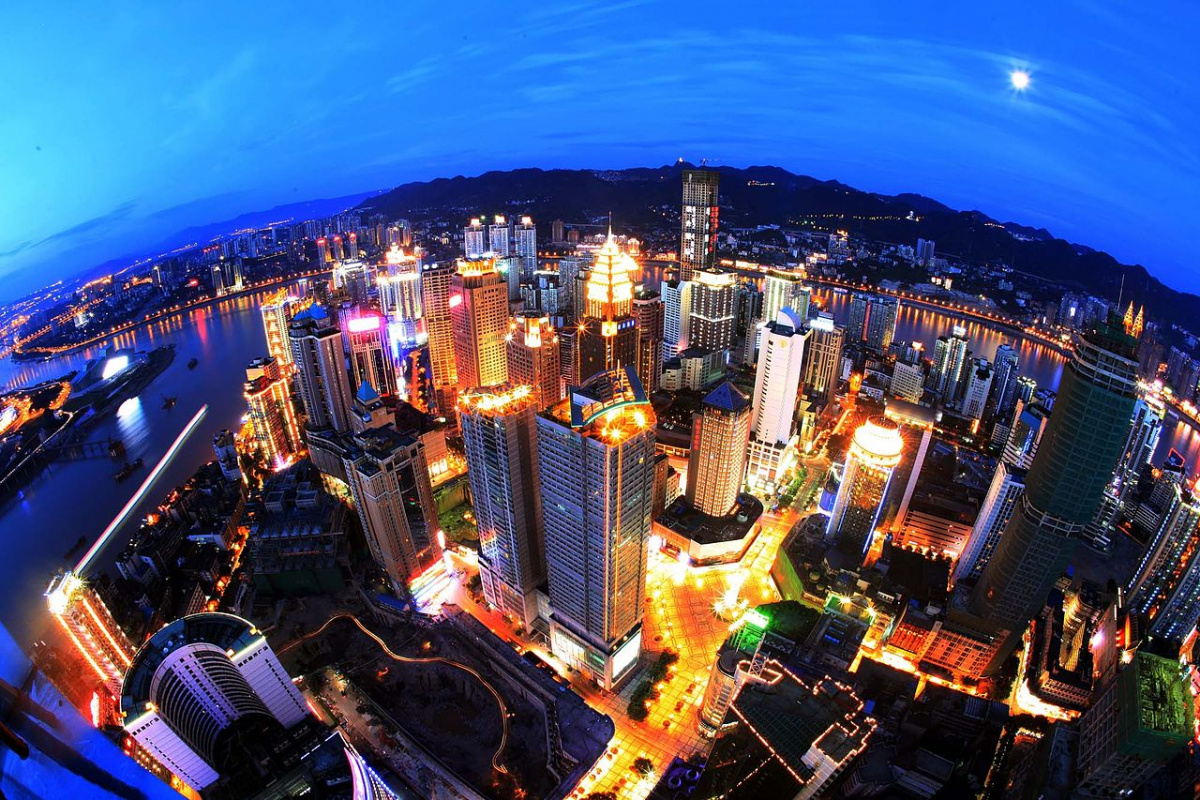 Spectacual wide-lens nightview over the Yuzhong skyline in Chongqing, China. Wikimedia Commons
