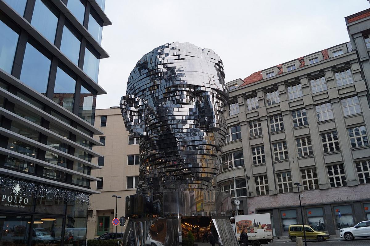 Franz Kafka monument in Prague.