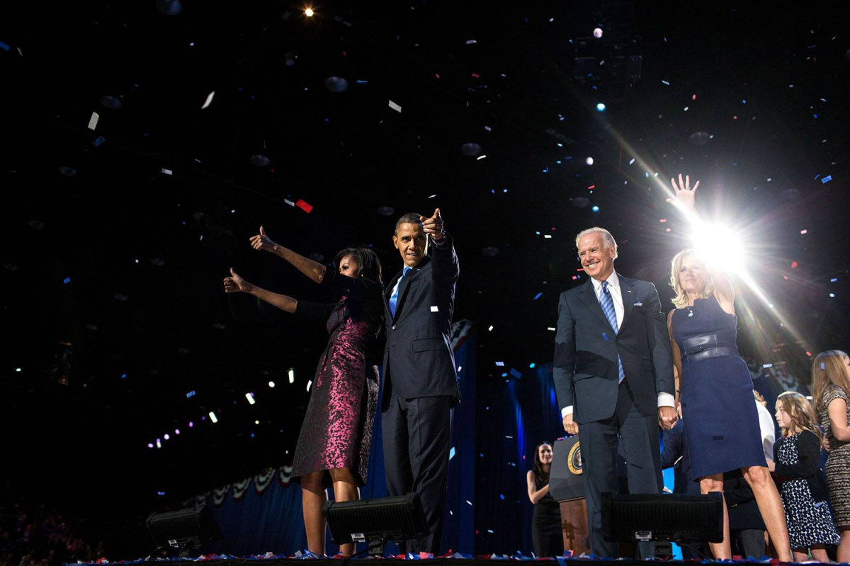 The Obamas and Bidens at President Obama's farewell address in Chicago. Via White House Facebook