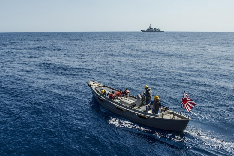 A craft assigned to the Japan Maritime Self-Defense Force destroyer JDS Kirisame carries sailors for training. Flickr/U.S. Pacific Fleet