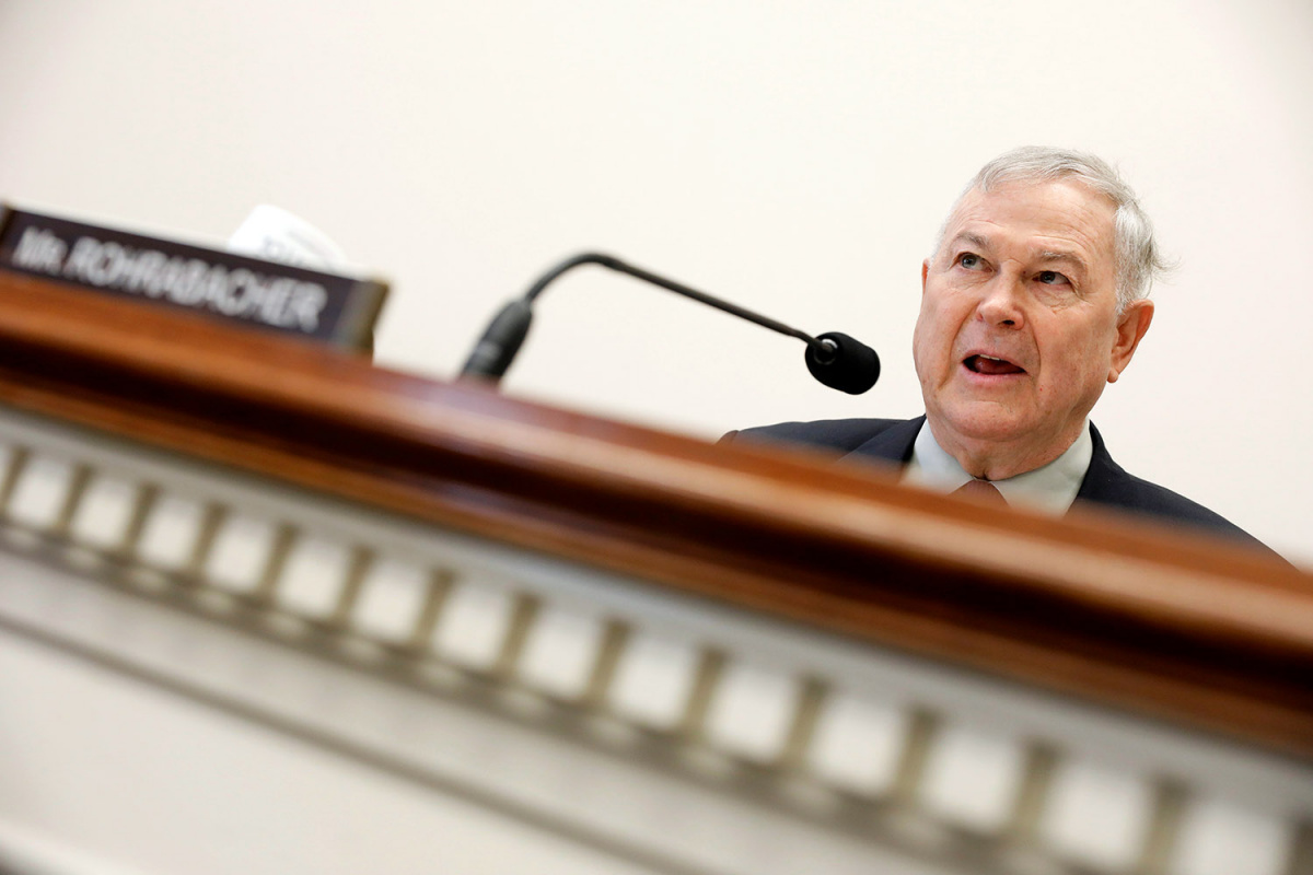 Rep. Dana Rohrabacher (R-CA) speaks during a House Foreign Affairs Europe, Eurasia and Emerging Threats Subcommittee hearing about the attack on demonstrators by members of Turkish President Recep Tayyip Erdogan's security detail on Capitol Hill in Washington, D.C., U.S.