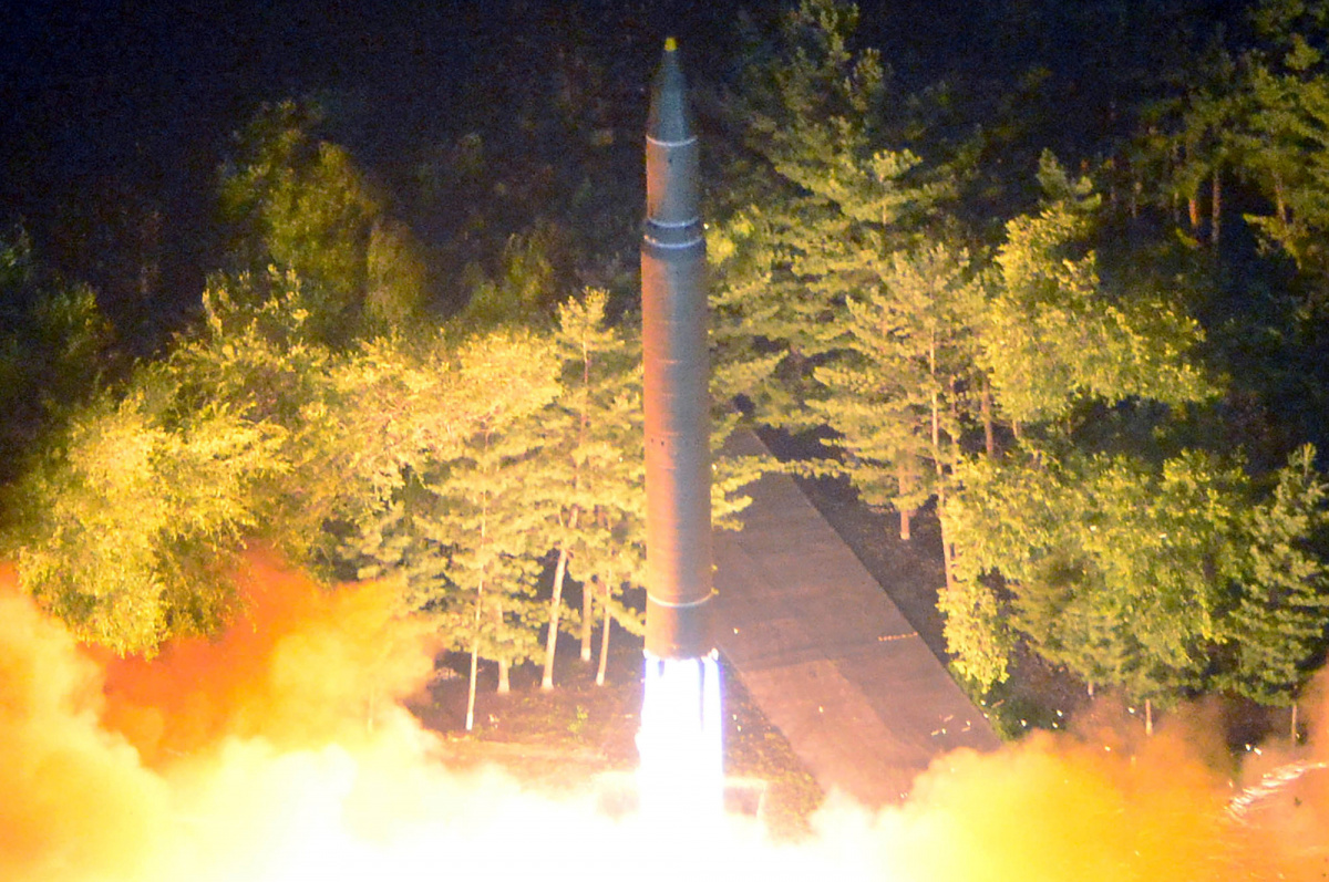 Intercontinental ballistic missile (ICBM) Hwasong-14 is pictured during its second test-fire in this undated picture provided by KCNA in Pyongyang on July 29, 2017. KCNA via Reuters.