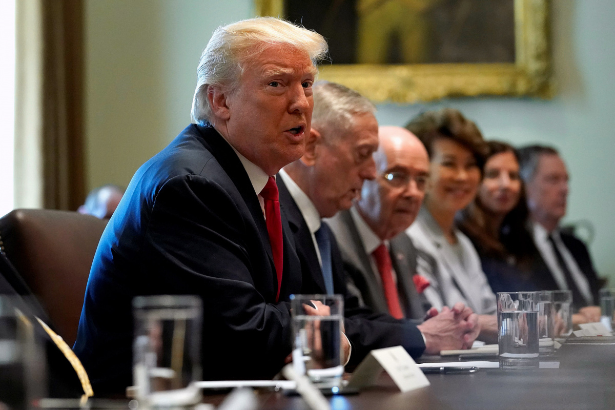 U.S. President Donald Trump speaks during a cabinet meeting at the White House in Washington, July 31, 2017. REUTERS/Joshua Roberts.