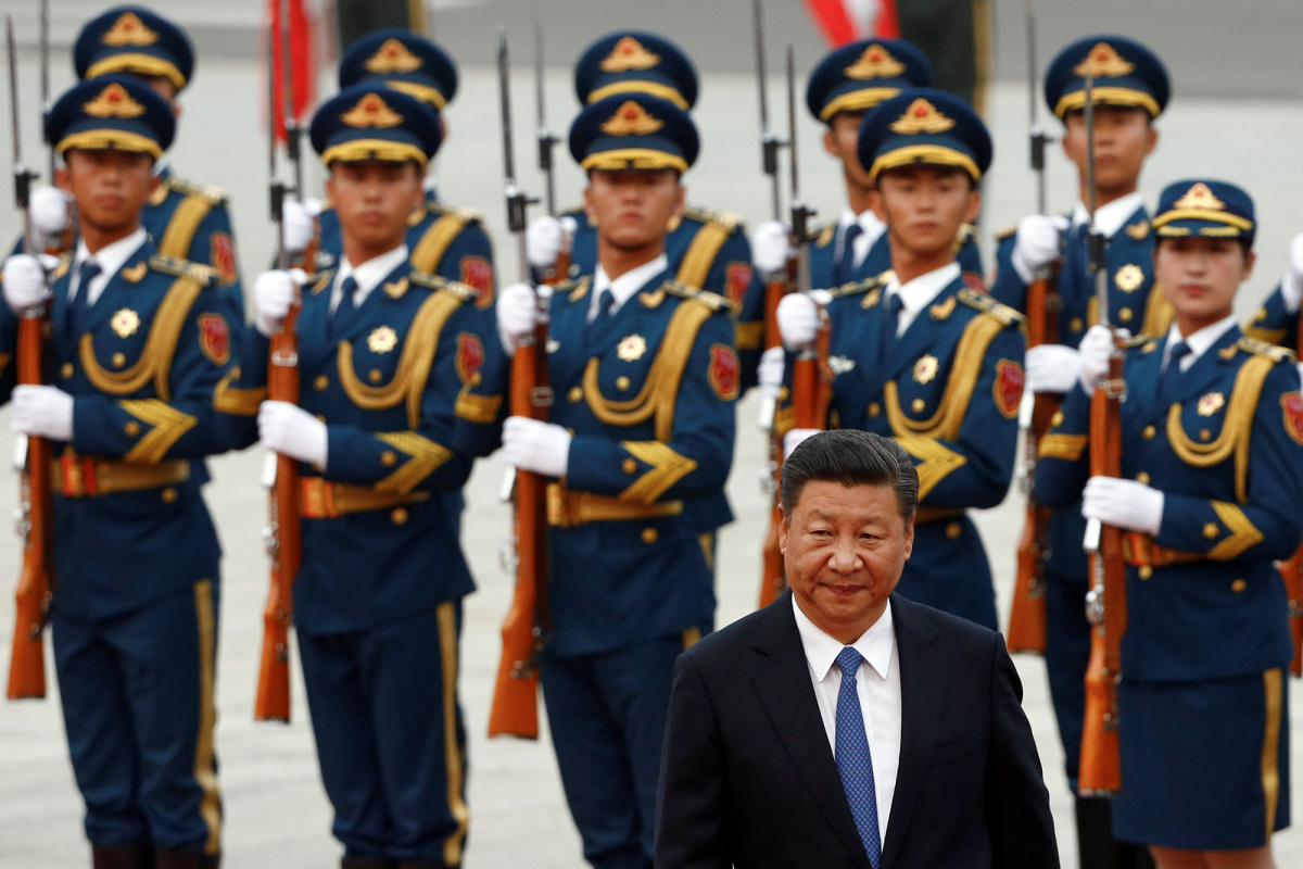 China's President Xi Jinping attends a welcoming ceremony for Brazil's President Michel Temer at the Great Hall of the People in Beijing