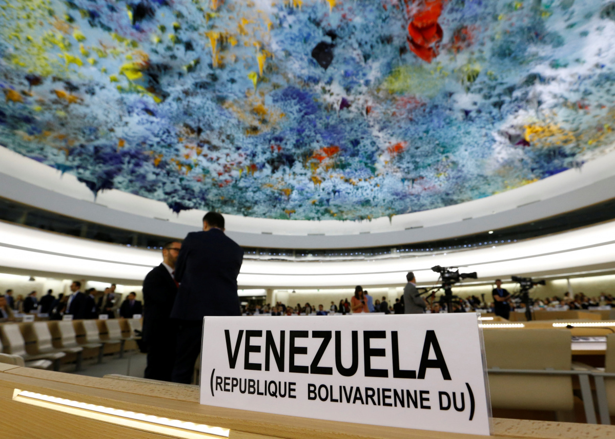 The name place sign of Venezuela is pictured on the country's desk at the 36th Session of the Human Rights Council at the United Nations in Geneva
