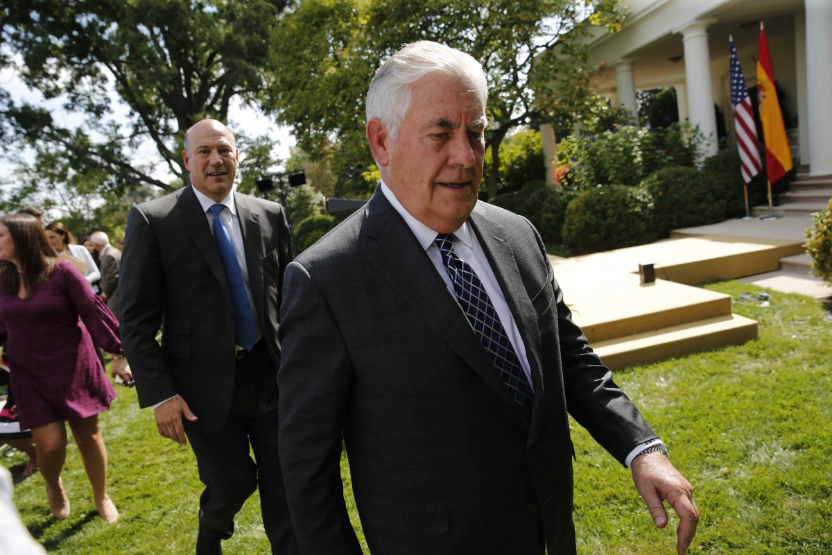 Cohn and Tillerson depart Rajoy-Trump joint news conference in Rose Garden at the White House in Washington