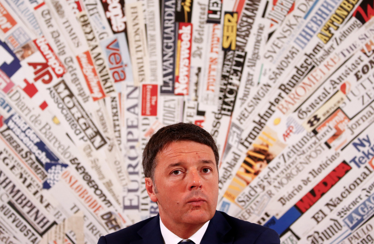 PD party leader Matteo Renzi looks on during a news conference at the foreign press association in Rome, Italy, February 13, 2018. REUTERS/Tony Gentile