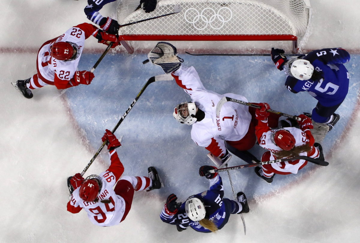 A preliminary-round match of women's ice hockey between the United States and Olympic Athletes from Russia, February 13, 2018. Reuters/Grigory Dukor