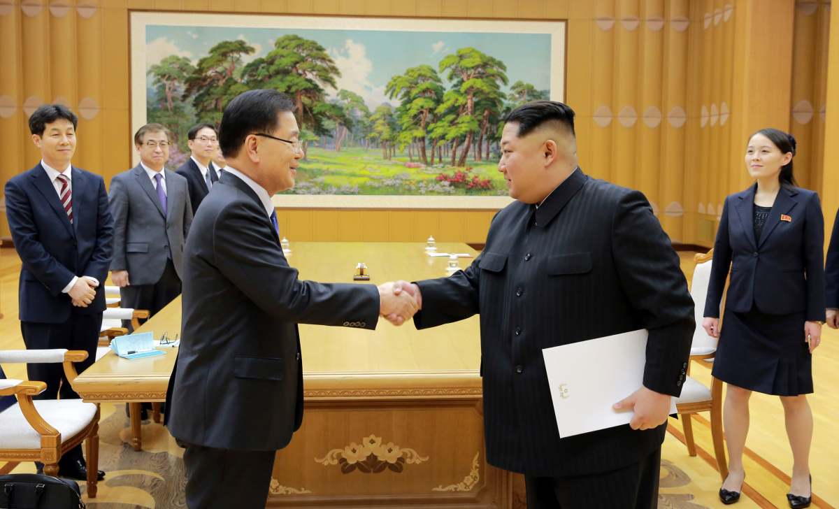 North Korean leader Kim Jong-un greets Chung Eui-yong, head of South Korea's National Security Office, in Pyongyang. The Presidential Blue House/Yonhap via Reuters