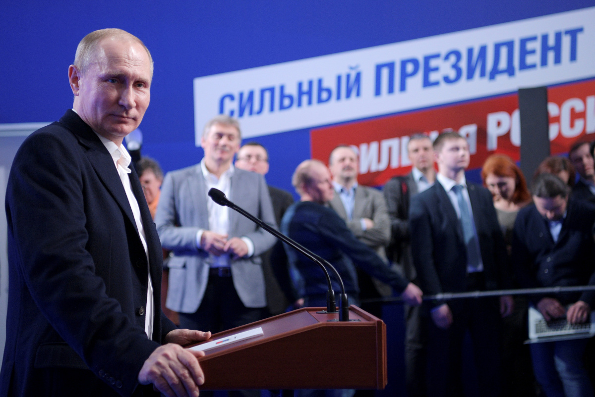 Vladimir Putin attends a news conference at his campaign headquarters in Moscow, Russia, March 18, 2018. Sputnik/Alexei Druzhinin/Kremlin via Reuters