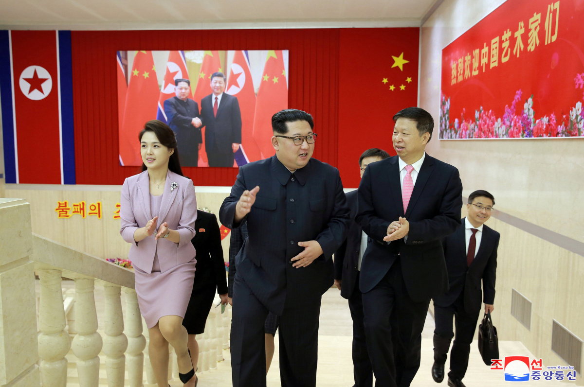Kim Jong-un meets Song Tao, the head of the Chinese Communist Party's International Department, in a photo released by North Korea's Korean Central News Agency (KCNA) on April 15, 2018. KCNA via Reuters
