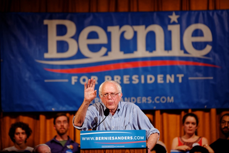 Image: Bernie Sanders at a rally in New Hampshire, 2015. Photo by Michael Vadon, CC BY-SA 2.0.