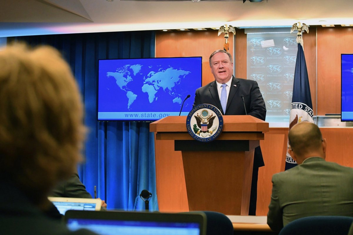 U.S. Secretary of State Mike Pompeo addresses reporters during the Department Press Briefing at the U.S. Department of State in Washington, D.C., on May 22, 2018.