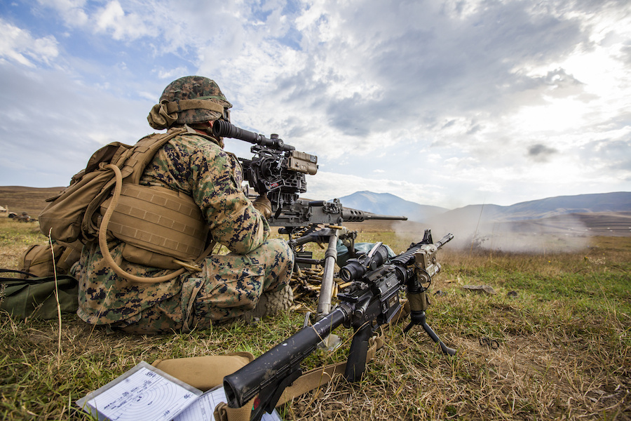 U.S. Marines demonstrate their firepower on the range with M240 and .50 caliber machine guns during Exercise Agile Spirit in Georgia. DVIDSHUB/Public domain